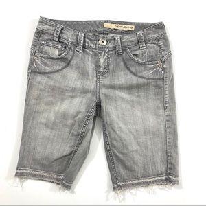DKNY Gray Burmuda Released Hem Frayed Shorts
